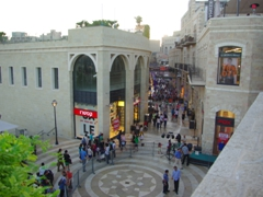 Overhead view of the Mamilla shopping boulevard, a posh section of Jerusalem