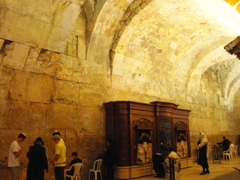 The men's only library section of the Western Wall; Jerusalem