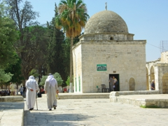 Muslims heading towards the Dome of the Rock on Temple Mount; Jerusalem