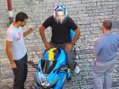 This guy's funny bike helmet caught our attention; Old Jerusalem