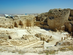 The immense Herodian Complex, was divided into two sections. Upper Herodian (visible here) contained a palace set within a circular fortress on an artificial volcano shaped mountain while Lower Herodian, located at the base of the mountain, consisted of palace annexes for the King's family