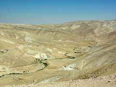 The isolated and inhospitable terrain on our drive from Bethlehem to Mar Saba, a Greek Orthodox Monastery in the middle of the Judean Desert