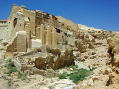 Mar Saba Monastery clings to the steep Kidron banks, and its isolated location makes it a tourist draw card in the Holy Land