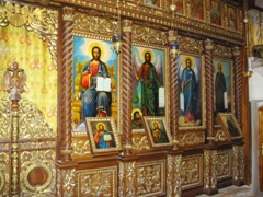 A highly decorated prayer room of the Monastery of Temptation in Jericho