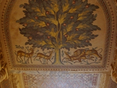 This diwan (small guest room) of Hisham's Palace's frigidarium has a famous floor mosaic nature scene, with animals and a stylized tree, symbolizing the tree of life