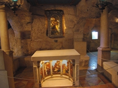 Interior of the Milk Grotto Chapel, where Christian pilgrims and women with infertility problems seek solace; Bethlehem