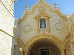 Exterior view of the Milk Grotto Chapel where Mary spilt a few drops of breast milk while feeding baby Jesus; Bethlehem