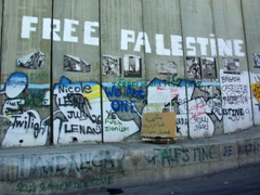"""Free Palestine"" message written on the Israel/Palestine Security Wall; West Bank"