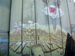 An evocative painting on the Israel/Palestine Security Wall