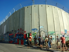Youths adding their input to the Israel/Palestine Security Wall