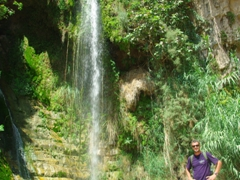 Robby poses at the base of David's Waterfall; Ein Gedi Nature Reserve