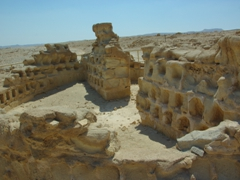 A dovecot with hundreds of niches where doves roosted. The birds provided the inhabitants of Masada with a source of protein as well as fertilizer for the region's crops; Masada