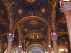 Interior gold mosaic domed roof of the Church of All Nations; Jerusalem