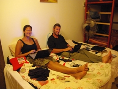 How did we get so lucky to score a double bed in a 9 person mixed bed dorm in Florentine Backpackers; Tel Aviv