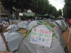 Tents erected on Rothschild Boulevard in protest of the extortionately high accommodation prices in Israel; Tel Aviv