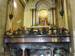 Altar of the Stella Maris Church, which was originally a 12th Century crusader stronghold, was used as a hospital for Napoleon's troops in 1799, and today functions as a Carmelite Church; Haifa