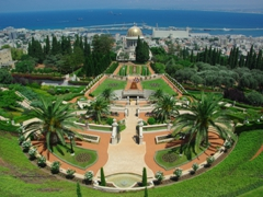 A view of the stunningly beautiful Baha'I Gardens, a UNESCO world heritage site. The gold dome is the Shrine of the Bab, and this garden serves as the most holy site in the world for the Bahai religion