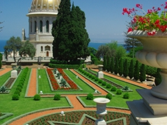 Another view of the aesthetically pleasing garden in front of the Shrine of the Bab; Haifa