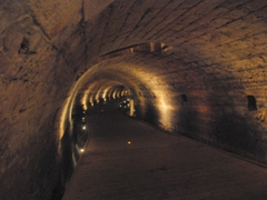 The Templars built this tunnel, which is cut in natural stone with the upper section consisting of hewn stone, to connect the Templar Fortress to the Akko port, a distance of 350 meters