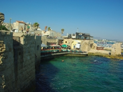 Waterfront view of Old Akko (daredevil boys leap from the city's walls to the shallow water below)