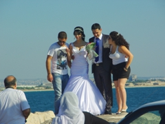 Old Akko's harbor is a great venue for this wedding photographer