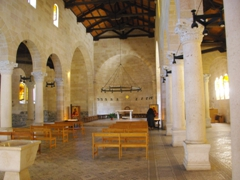 Interior view of Tabgha's Church of the Multiplication of Loaves and Fishes