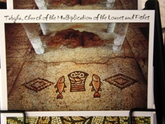 Postcard view of the world famous fish and loaves floor mosaic at the church of the same name in Tabgha