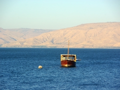 A boat anchored in the Sea of Galilee