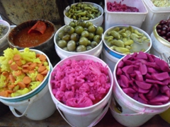 A mixture of colorful, pickled vegetables on display at a market stall in the Muslim Quarter; Jerusalem