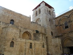 The exterior of the Church of the Holy Sepulcher, located in the Christian Quarter of Jerusalem