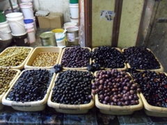 A wide variety of olives for sale in the Muslim Quarter of Old Jerusalem