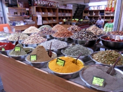 Spices for sale; Mahaneh Yehuda Market in Jerusalem