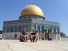 Becky and Robby posing in front of the Dome of the Rock, one of the most holy sites in the world; Jerusalem