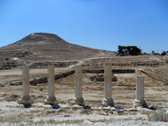 Roman columns of the pool complex (a large 70 x 45 meter pool) used for swimming, boating and a reservoir; Herodion