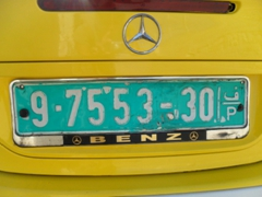 Palestinian license plate; West Bank