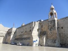 View of the Church of the Nativity, without doubt the star attraction in Bethlehem. This fortress-like church was built on top of the cave where Mary gave birth to Jesus. It is considered one of the oldest churches in the world