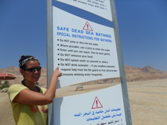"Becky points out the Dead Sea Bathing rules, specifically ""Do NOT drink seawater"""