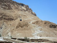 For 54 NIS, a one way cable car ride up to the Masada Plateau is worth it to avoid climbing the arduous Snake Path in the midday heat