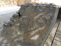 "Replica model of the Northern Palace, a ""grand and daring building constructed by Herod and is Masada's architectural gem"""