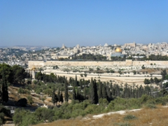A panoramic vista of Jerusalem as seen from Mount of Olives