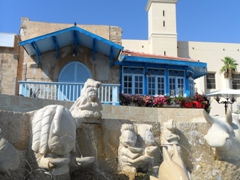 Water fountain in Kedumim Square with St Peter's Church in the background; Old Jaffa