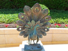 A peacock statue graces the Baha'I Gardens; Haifa
