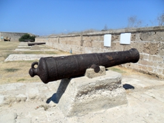 Canons on the eastern Land Wall Promenade of Old Akko, an ancient Crusader City near Haifa