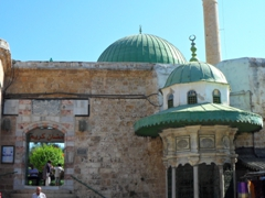 Entrance to the 1781 Al-Jazzar Mosque, with its green dome visible from any high vantage point in Akko
