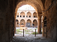 A camel gazes out from the old caravanserai, which used to serve as a hub for international trade. Merchants would unload their goods into the storerooms on the ground floor, and reside on the upper level; Khan al-Umdan in Old Akko
