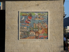 A colorful wall mosaic of Tiberias, the largest town on the Sea of Galilee