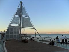 Replica of a ship's sail; Tiberias overlooking the Sea of Galilee