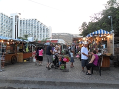 As the sun sets, the pedestrian area of Hayarkon Street in Tiberias exudes a festive atmosphere