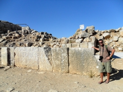 Robby posing beside the Baybars Inscription, a monumental Arabic inscription among the largest of the Mameluke period; Nimrod Castle in the Golan Heights