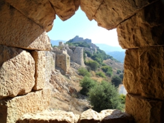 Window view of Nimrod Fortress situated on top of Mt. Hermon